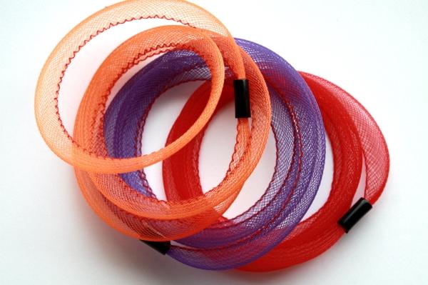 Bracelets Tournicotti orange, violet et rouge