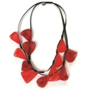 Collier double Perle de Pluie rouge et bordeaux